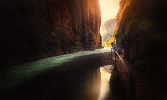 into the light (Chrisnaton) Tags: switzerland aareschlucht sun darknessandlight canyon nature river sunreflection path intothelight