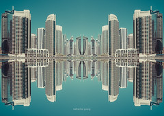 Deception, part I (Katherine Young) Tags: abstract uae middleeast unitedarabemirates reflection impression dubai dubaimarina city urban cityscape skyline pano view vista panorama buildings skyscrapers tourism travel destination heritage modern contemporary visit holiday marina residential towers condos apartments flats construction
