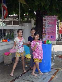 cute girls getting ready to throw water