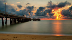 Palm Cove redux (Pat Charles) Tags: palmcove portdouglas cairns farnorthqueensland fnq queensland australia travel tourism sunrise sunset dawn morning early beach sea pacific ocean water reflection reflected reflections clouds sun sky outside outdoors outdoor longexposure tripod nikon