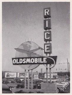 RICE OLDSMOBILE, Ft. Wayne, Indiana (Johnson Bros. Neon Signs) - circa 1958