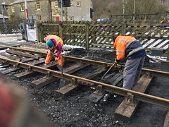 Bob and Eric shovel pack sleepers at Levisham 19Mar18
