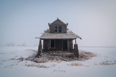 The Slow Surrender. (Explored) (Fistfulofpowder) Tags: abandoned alberta winter fog frost