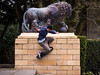 Skateboard trick (the1lemming) Tags: skateboard trick lion statue sculpture blackpool stanly park defy gravity stunt