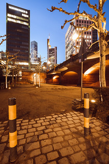 View to Commerzbank Tower to the blue hour