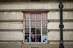 Fish,Chips, Check, Stripes (garryknight) Tags: nikon d5100 on1photoraw2018 london creativecommons ccby30 fish chips fishandchips food cafe southbank woman red white stripe check 50mmf18g
