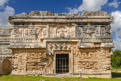 Las Monjas (Adaptabilly) Tags: mexico yucatán sky tree grass ruins travel mayan door mx archaeology chichenitza decoration shadow lumixgx7 clouds