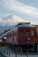 train and Mt. Fuji (kasa51) Tags: railway train display mtfuji station fujikyu kawaguchikoekistation 富士山 河口湖駅 富士山麓電気鉄道モ1形 1929(昭和4)年採用 yamanashi japan 富士急行