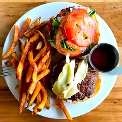 Burger Plate (Cesar's iPhoneography) Tags: iphone7 iphoneseven iphoneography ioatx austin texas atx food dish fork knife whiteplate brie tomato silverware tabletop dining restaurant circle white red green leaf kale burger frenchfries ketchup meal bread
