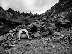 Camp at Refugio Grey (NP Nahuel Huapi) near Bariloche/Argentina (PeterLademann https://ladpeter.wordpress.com) Tags: argentina bariloche camp cerrocatedralskiresorttorefugiofrey gh2 lagunatonchek nahuelhuapinationalpark patagonia rocks tent zelt