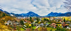 Panorama view of a Bavarian village with the Alps in Southern Germany (UweBKK (α 77 on )) Tags: panorama view scenery landscape alps village bavaria bayern germany deutschland europe europa iphone rural mountains trees forest