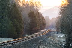 Where's The Train? (John Westrock) Tags: traintracks sunrise trees mountains washingtonstate pacificnorthwest canoneos5dmarkiii canonef100400mmf4556lisusm transportation