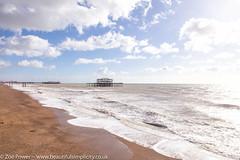 Sweeping seas by the remains of the West Pier, Brighton (Zoë Power) Tags: westpier beach uk brighton derelict blueskies coast sea seaside