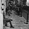 Malta Streets (Douguerreotype) Tags: candid people monochrome bar blackandwhite malta street mono stairs city valletta night urban bw steps
