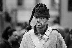 Fancy cap (Frank Fullard) Tags: frankfullard fullard candid street portrait castlebar mayo irish ireland french france soldier ancient replica mock hat cap fancy headgear weadwear beard stubble monochrome blackandwhite