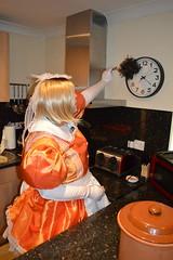Orange maid uniform 37 (sissybarbie1066) Tags: sissymaid sissy maid uniform orange shot red taffeta dusting