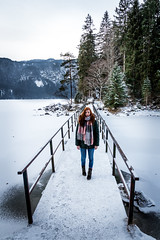 Eibsee Bridge (Fabian Fortmann) Tags: winter bavaria eibsee bridge portrait people snow schnee ice frozen vacation urlaub
