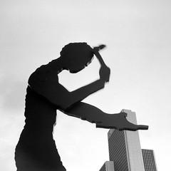 If I had a Hammer... (ucn) Tags: frankfurtammain rheinmetallweltax berggerpancro400 sculpture filmdev:recipe=11888 agfarodinal developer:brand=agfa developer:name=agfarodinal