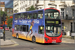 BN61 MXD First    (IMG_9855BU97) (Gerry McL) Tags: bus london first bn61mxd wright gemini enviro 400 overall advertisement visa usainbolt olympics 2012