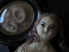 YUELIANG_slit-head wax doll_1820 & mourning death hair reliquary_1800's (leaf whispers) Tags: buy forsale auction doll primitive antique beautyindecay haunted old toy poupée ancienne obsolete folkart victorian entropy distressed decay womansbody femaleform woman girl body image mementomori mourning death grief grieving creepy weird bizarre horror ghost handmade scary spooky vintage sinister steampunk goth gothic xix 19eme napoleoniii wax papier mache paper slithead humanhair 19thcentury 1800 madalice montanari edwardian georgian chiaroscuro queen ann anne eerie hairreliquary reliquairecheveux fetish fétiche regency