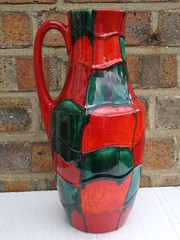 Scheurich Red / Orange & Green Fat Lava Vase 1960's / 70's West German Pottery Mid Century Modern (beetle2001cybergreen) Tags: scheurich red orange green fat lava vase 1960s 70s west german pottery mid century modern