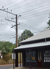 An Electric Corner (mikecogh) Tags: bowden electricity telegraphpole shop store stobiepole wires