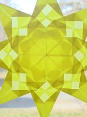 Window Star (Pictures by Ann) Tags: etsy harvestmoonbyhand waldorf window star windowstar yellow gold patterns origami kitepaper craft art project diy waldorfinspired decor decoration fall autumn spring summer warm sun vibrant