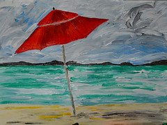 Kim's Red Umbrella (BKHagar *Kim*) Tags: bkhagar artday art painting paint acrylic kims umbrella red ocean sea shore water beach