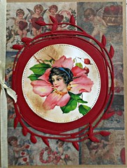 Orchid Lady (janettefuller) Tags: handmade handmadegreetingcard orchid victorianlady valentine valentinecard vintage wreath art crafts papercrafts cardmaking