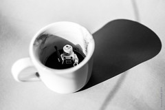 morning back to work after holiday (simone.pelatti) Tags: lego coffee morning tired work job hard stress black white bw monday
