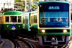 Enoshima Electric Railway Type 300 and Type 2000 (Dakiny) Tags: 2018 winter january japan kanagawa kamakuira shichirigaham shonan coast city street railway enoshimaelectricrailway enoden train electrictrain nikon d750 nikonclubit