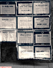 1995 Obituary posters (DelioTO) Tags: 4x5 1995 antiquities aph09 architecture blackwhite city historical italy pinhole toned trip autaut