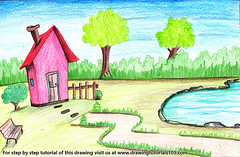 House with Garden and Pool Scene (drawingtutorials101.com) Tags: house with garden pool scene houses scenes architecture color pencil pencils draw drawing drawings colors coloring how sketch speed