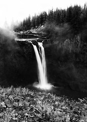 Portrait of a Waterfall (John Westrock) Tags: waterfall snoqualmiefalls blackandwhite washingtonstate pacificnorthwest snoqualmie flow water cliche trees foreground canoneos5dmarkiii canonef2470mmf28lusm
