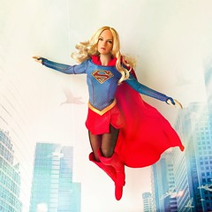 Supergirl in flight (playing with filters) (alexmadalton) Tags: girls superhero hero comics dc doll toy figure sixth 16 superman supergirl