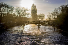 Misty River (Reckless Times) Tags: wolvercote trout pub bridge wooden old river rapids white water morning sun rise sunrise golden hour mist misty nikon d750 sunlight blue sky spring 100x project