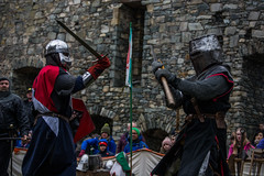 Jacques vs Hywel (Coed Celyn Photography) Tags: medieval reenactment harlech snowdonia north wales knight knights castle castell cadw history historic historical living larp battle armour armor fighting fight weapon weaponry weapons costume clothing outfit sir chainmail sword swords shield glave helmet