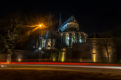 Long-exposure Night image of the Berg kerk (church) Deventer shared with pixbuf (Bart Ros) Tags: longexposure long exposure deventer traffic trafficlight lights church churches night nederland holland dutch travel towers tower light