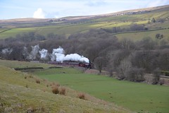 LMS 'Crab' Locomotive No.13065 approaching Irwell Vale, with the 09.50 service from Bury to Rawtenstall. East Lancs Railway. 01 04 2018 (pnb511) Tags: eastlancsrailway steam engine loco locomotive train track hills trees fields grass countryside rural 260 mogul woods woodland