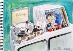 Cet après midi à Périgné, nous avons écouté des disques en buvant du thé masala chez Brocline (Croctoo) Tags: crayon croctoo croctoofr aquarelle watercolor disque pickup tournedisque