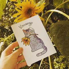 "Vinvango from ""Art cats"" set (letscats) Tags: letscats cat postcard cartolina ansichtkaart postkort postkarte postikortti vykort illustration design postcrossing vincent vangogh art painting"