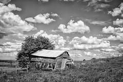 The Abandoned Farmhouse (jamesromanl17) Tags: landscape landscapes canon eos 5d markiii farm farming farmland blackandwhite sky skies clouds cloud cloudscape cloudy cheshire england britain uk countryside field fields shed grass bampw