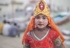 sweet (andy_8357) Tags: portraiture girl aarti puja varanasi india cute traditional costume makeup ganges ganga travel natural light sony a6000 canon fd f14 50mm vintage beautiful colorful ilcenex ilce6000 6000 alpha orange red bokeh young ghats ghat street photography mirrorless offering goddess white dots face outdoors hat crown ritual golden boats river beads jewels e emount mother