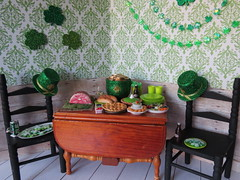 6. Party Room (Foxy Belle) Tags: doll barbie st patrick patricks day party diorama green holiday celebrate miniature dollhouse 16 playscale food shamrock wooden table chairs dining room glitter decorations
