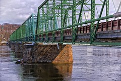Lots of Bridge (brev99) Tags: d610 tamron28300xrdiif newhope newjersey ononesoftware on1photoraw2018 landscape delawareriver pennsylvania lambertville reflections colorefex bridge