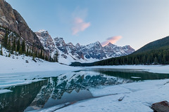 Moraine Lake at Sunset (Chuck - PhotosbyMCH.com) Tags: photosbymch landscape sunset reflection lakemoraine banffnationalpark alberta canada 2017 canon 5dmkiv mountains snow water ice outdoors morainelake