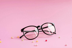 Product shot of glasses on pink background. (wuestenigel) Tags: protection color reflection fashion background holiday female sun beach love stylish woman accessories isolated shape white closeup style concept minimal vacation fruit accessory light beautiful modern summer pink design plastic travel sunglasses sky watermelon object heart glasses lifestyle shaped eyewear