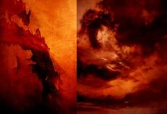 Le règne du feu... (Sabine-Barras) Tags: dyptique dyptich clouds nuages ciel sky texture red rouge