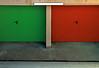 gemelli diversi (Rino Alessandrini) Tags: doppio garage porta opposti rosso verde urbano minimale astratto double door opposite red green urban minimal abstract