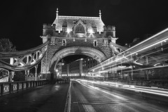 Big mouth Tower Bridge (PeterThoeny) Tags: london unitedkingdom uk towerbridge bridge building road bus night lights sky city architecture action lightstream actionshot longexposure monochrome blackandwhite sony sonya7 a7 a7ii a7mii alpha7mii ilce7m2 fullframe fe2870mmf3556oss 1xp raw photomatix hdr qualityhdr qualityhdrphotography fav200